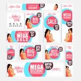 Anúncios ou encabeçamentos sociais dos meios da venda para o dia de mãe Imagem de Stock