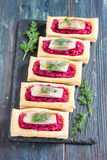 An Appetizer With Beet And Herring Stock Images
