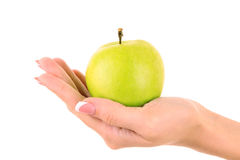 Free An Apple On The Hand Isolated Stock Photography - 16910362