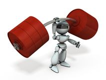 Free An Artificial Intelligence Robot That Lifts The Barbell With One Hand. Royalty Free Stock Image - 158816186