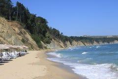 An Empty Beach On The Black Sea Seaside At Obzor, Bulgaria Royalty Free Stock Photos