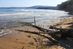 An Empty Beach On The Black Sea Seaside At Obzor, Bulgaria Stock Photo