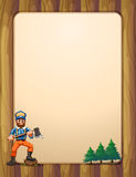 An Empty Wooden Frame With A Lumberjack Holding An Axe Across Th Stock Images