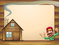 An Empty Wooden Frame With A Lumberjack Shouting And A House Stock Photo