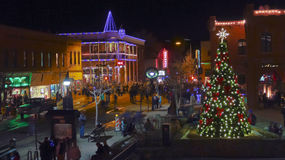 An Historic Downtown Flagstaff, Arizona, New Year S Eve Stock Photos