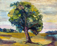 An Oil Painting On Canvas Of A Seasonal Autumn Rural Landscape With Alone Colorful Old Pear Tree