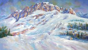 Free An Oil Painting On Canvas. Snow Drifts At The Foot Of Mount Fisht . Mountain Landscape In Bright And Juicy Colors. Royalty Free Stock Photography - 121660967