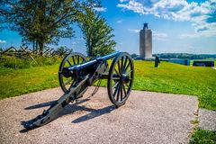 An Old 19th Century Artillery Cannon In Gettysburg, Pennsylvania Stock Photography