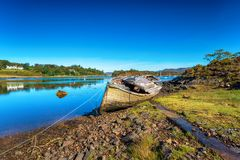 Free An Old Fishing Boat On The Shore Of Gair Loch At Badachro Stock Photos - 159257663