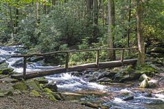 Free An Old Footlog Crosses A White Water Stream In The Smokies. Stock Images - 138499974