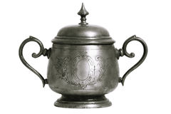 Free An Old Silver Metal Sugar Bowl With A Lid And Ornament. Metal Punctles With Scratches And Patina. Royalty Free Stock Photos - 98204258