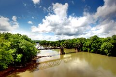 Free An Old Train Trestle Crossing The Catawba River. Stock Images - 183580644