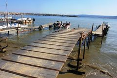 An Old Wooden Bridge On The Black Sea Seaside At Obzor, Bulgaria Stock Images