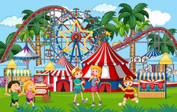 Free An Outdoor Funfair Scene With Kids Playing Stock Image - 161598621