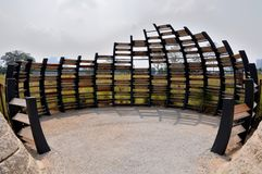 Free An Oval Shaped Bird Hide Made Of Curved Dark Brown Black Wooden Planks At Singapore Lakeside Gardens Stock Photo - 164686600