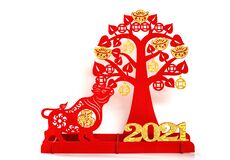 Free An Ox Mascot And Money Tree As Symbol Of Chinese New Year Of The Ox On White The Chinese Means Good Luck Stock Image - 206514981