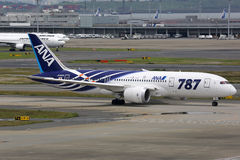 ANA All Nippon Airways Boeing 787 Dreamliner Tokyo Haneda Airpor. Tokyo, Japan - May 27, 2014: An ANA All Nippon Airways Boeing 787 Dreamliner with the Stock Photography