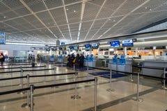 ANA, All Nippon Airways, check-in counter at Narita Airport, Japan. Tokyo, Japan - December 2017: ANA, All Nippon Airways, check-in counter at Narita Airport Royalty Free Stock Image