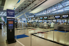 ANA, All Nippon Airways, Check-in counters at Kansai International Airport KIX, Osaka, Japan. stock photos
