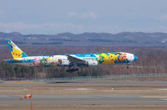 ANA Boeing 777 decorated with Pokemons Stock Images