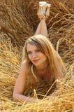 Ana en el campo de trigo 2 Imagen de archivo libre de regalías
