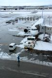 ANA flight loading at Chitose airport on a snowy day Sapporo Royalty Free Stock Photo