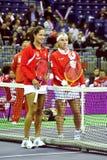 Ana Ivanovic and Svetlana Kuznetsova royalty free stock photo