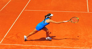Ana Ivanovic tennis player. Ana Ivanovic, one of the top WTA players, playing against Sorana Cirstea in Romania vs. Serbia teams tennis match Royalty Free Stock Images