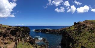 Ana Kai Tangata cave. Panorama from Ana Kai Tangata cave Easter Island, Rapa Nui royalty free stock photography