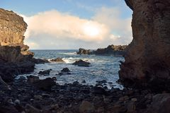 Ana Kai Tangata, Ilha de Páscoa foto de stock