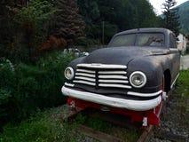 Ana Pauker ` s Skoda Vos opancerzony samochód modyfikujący jako draisine, wystawiający w Sinaia staci kolejowej Fotografia Royalty Free