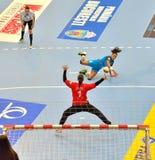 Ana Paula Rodrigues, gracz CSM Bucharest atakuje podczas dopasowania z MKS Selgros Lublin Obraz Stock