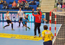 Ana Paula Rodrigues, player of CSM Bucharest attacks during the match with MKS Selgros Lublin Royalty Free Stock Photos