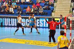 Ana Paula Rodrigues, player of CSM Bucharest attacks during the match with MKS Selgros Lublin Royalty Free Stock Photo