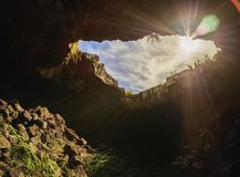 Ana Te Pahu Cave on Easter Island, Chile