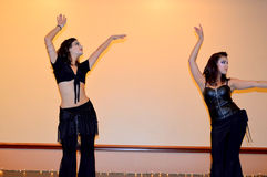 Ana And Tisha of. This photo was taken during Bellydance UIUC Spring Hafla 2016 in Champaign, Illinois Royalty Free Stock Photo