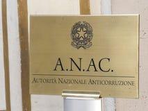 ANAC, italienische nationale Korruptionsbekämpfungs- Berechtigung lizenzfreies stockfoto