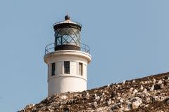 Anacapa灯塔特写镜头视图在Anacapa海岛上的在南加州 免版税库存照片
