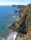 Anacapa Island cliffs. Awesome cliffs, coast, south side of Anacapa Island, Channel Islands National Park, California Stock Photography