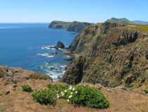 Anacapa Island coast. Sectacular cliffs, coast, south side of Anacapa Island, Channel Islands National Park, California Stock Images