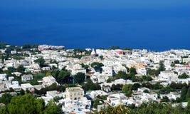 Anacapri at Capri Island panorama. Aerial view of Anacapri city at Capri island Stock Images