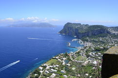Anacapri, Italy. A beautiful view from the top of Anacapri, Italy overlooking the island and port Stock Photo
