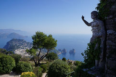 Anacapri and the statue. In Italy Royalty Free Stock Photos