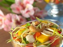 Anacardio e germoglio di fagiolo su insalata Fotografia Stock