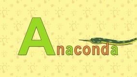 anaconda Alfabeto inglés del PARQUE ZOOLÓGICO - letra A stock de ilustración