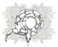 Anaconda dibujada mano del esquema del garabato Imagen de archivo libre de regalías