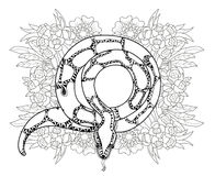 Anaconda disegnata a mano del profilo di scarabocchio Immagine Stock Libera da Diritti