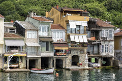 Anadolu Kavagi, Istanbul, Turkey. ISTANBUL, TURKEY, JUNE 8, 2013: Detail from the coastline houses at Anadolu Kavagi, a touristic small fishing town at the edge Royalty Free Stock Images