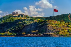 Anadolu Kavagi with Yoros Castle Stock Photos