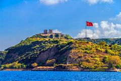 Anadolu Kavagi with Yoros Castle Stock Image